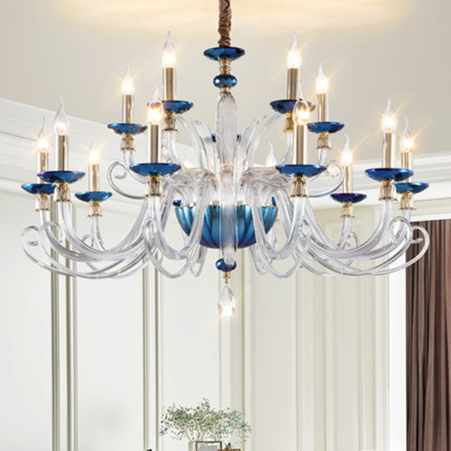 Us 327 12 13 Off Contemporary Crystal Chandeliers Blue Clear Gl Suspension Lamp Led Creative Living Room Dinning Bedroom Chandelier Light In