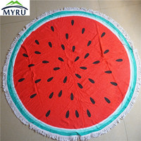 HOT Sale Microfiber towel romantic beach towel round watermelon pattern printed bath tassel circle towel