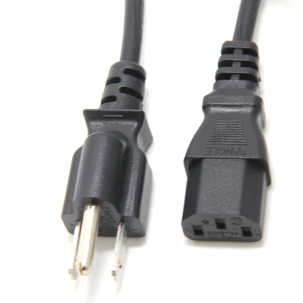 18AWG NEMA 5-15p to IEC C13 Cable 1ft (5 Pack) Ancable Short 3-Conductor PC Power Cord