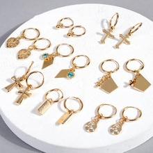 все цены на Trendy Small Gold Hoop Earrings for Women Cartilage Earring Cross Star Heart Hoop Earrings Fashion Jewelry Women Accessories онлайн