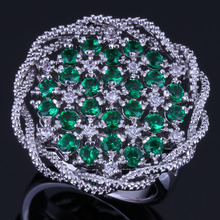 Admirable Big Flower Green Cubic Zirconia White CZ 925 Sterling Silver Ring For Women V0519