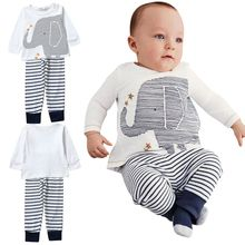 2 Pieces Toddler Kids Baby Boys Clothes Sets Cotton Long Sleeve Tops + Stripe Pants Trousers Outfit Children Clothing 0-4Y LS4