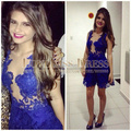 Royal Blue Lace Scoop Neck Tank Sleeves A Line Designer Short Cocktail Party Dress Vestido De Curto 2015 Club Cocktail Dress