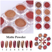 8Pcs Set Matte Powder 8 Colors Gold Red Series Nail Art Glitter Powder Dust Manicure Nail