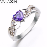Sizes 4 To 11 Sterling Silver Jewelry Heart Rings For Women Gf Purple White Blue CZ