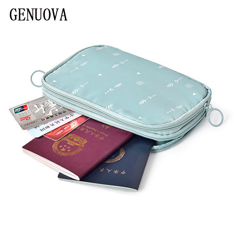 Travel Double-decker Credit Card Wallets Passport Document Bag Multi-function Digital Bag Travel Casual ID Holders Passport Bags