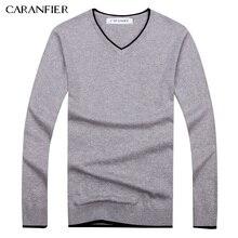 Caranfier Новинка 2017 года осень Для мужчин свитер мужской хлопок Повседневный пуловер Для мужчин свитер v-образным вырезом 7 цветов Свитера для перемычки Для мужчин M-3XL