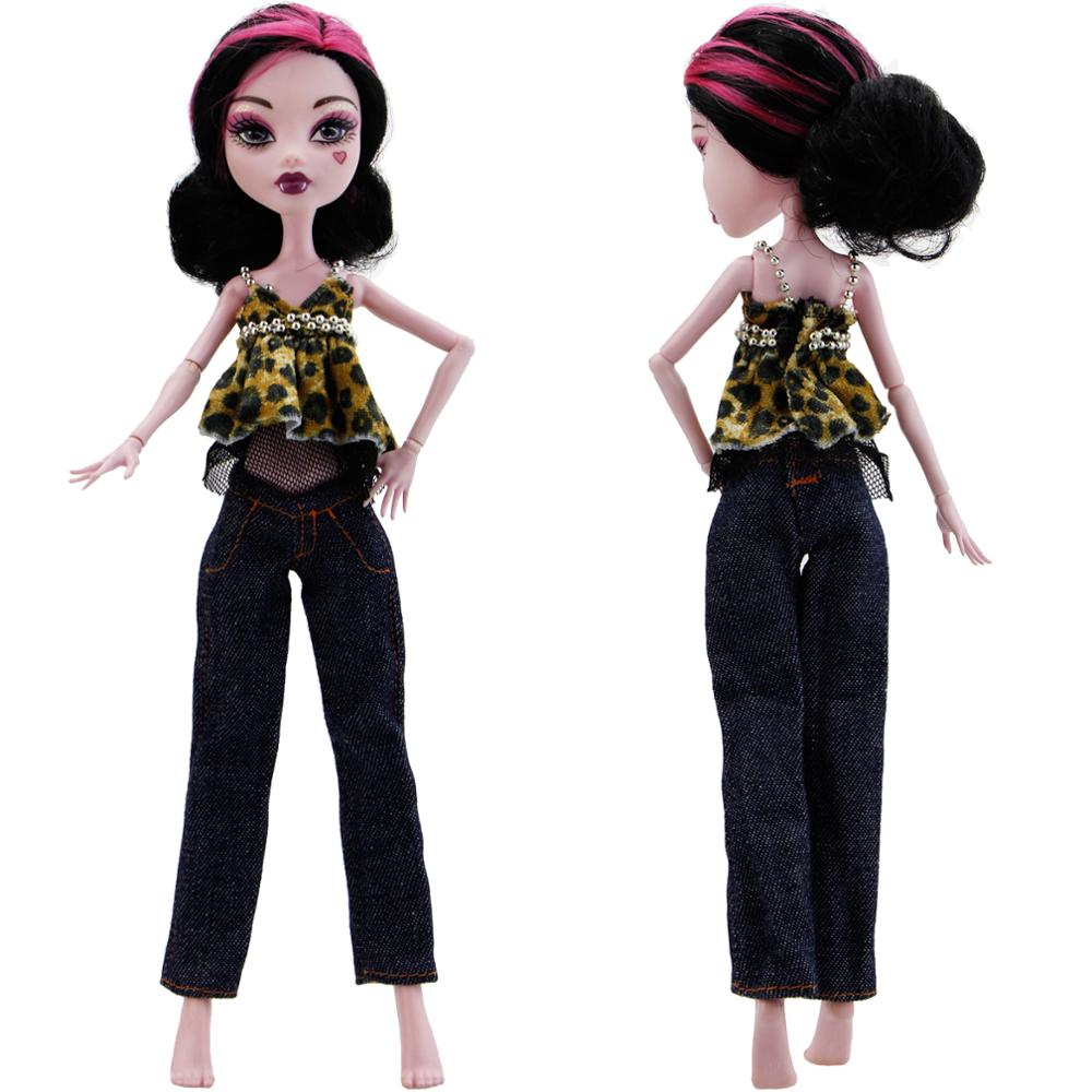 Fashion Lovely Outfit Cool Leopard Print Vest Trousers Blouse Jeans Trousers Clothes For Monster High Doll Accessories DIY Toy