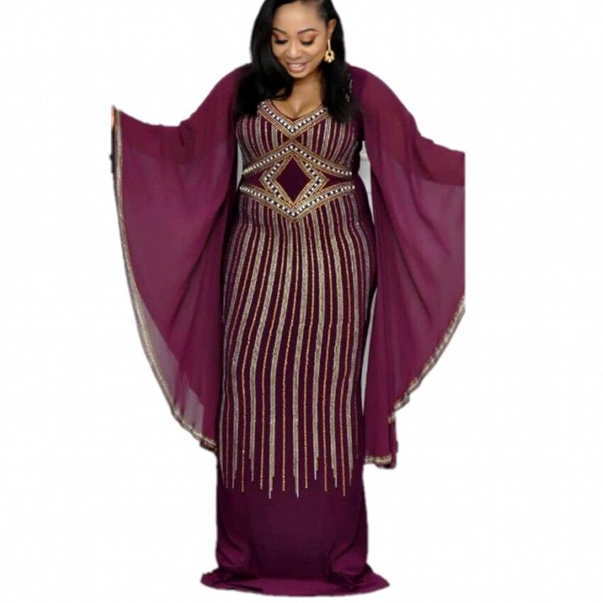 African Dresses For Women Dashiki Diamond African Clothes Bazin Broder Riche Sexy Slim Ruffle Sleeve Robe Evening Long Dress