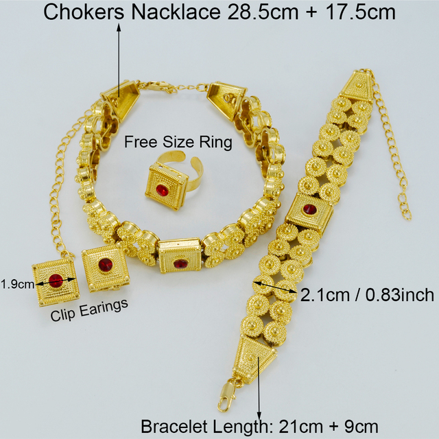 Gold Plated Ethiopian Wedding Sets Jewelry Chokers Necklace/Clip Earrings/Ring Africa Habesha Eritrea Bridal Gift #013602