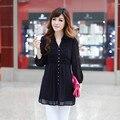 Большие Размеры M-4XL Девушку Блузка Новый летний Стиль тис Корейский стиль повседневную одежду больших размеров кардиган талии раза тонкий шифон рубашка