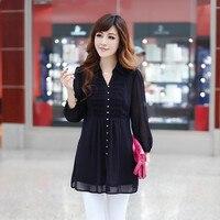 2015 Summer New Korean Large Size Women Cardigan Jacket Waist Fold Thin Chiffon Shirt Sleeve Seven