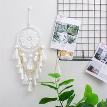 Large White Handmade Dream Catcher with Wooden Beads
