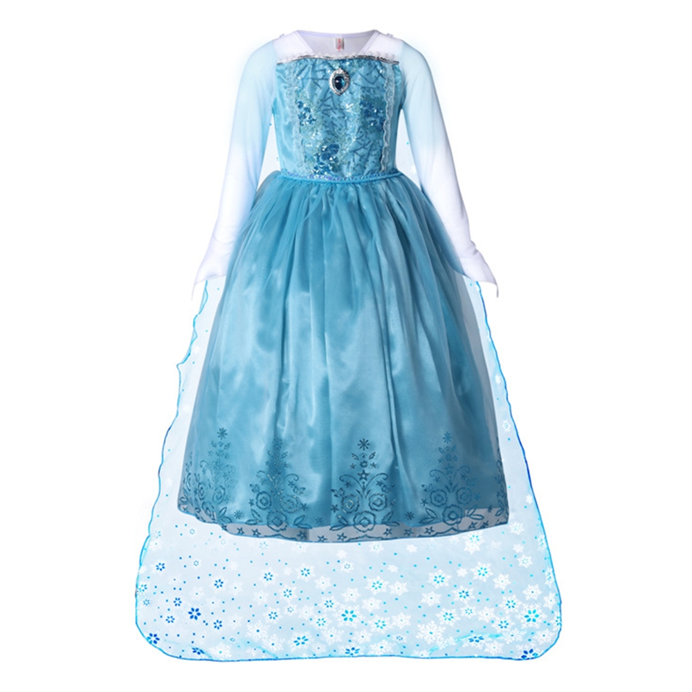 Kid Novelty Carnival Costume Girl Princess Elsa Dress with Cape Long Sleeve Halloween Fancy Elsa Cosplay Child Party Gown