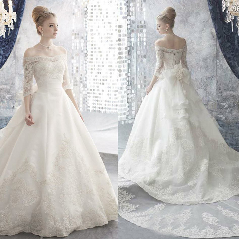 New Elegant Ball Gown Wedding Dresses With Sleeves 2016 Off Shoulder ...