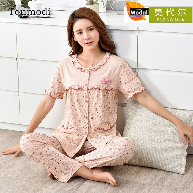 Pajamas   For Women Summer Modal Sleepwear Short Sleeve Trousers   Pajamas   Cardigan Women lounge   Pajama     Set   Plus Size 4XL