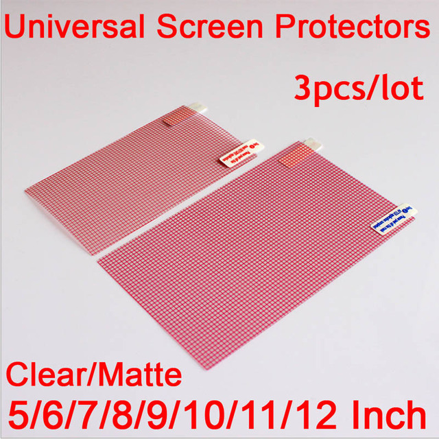 3pcs/lot Clear or Matte Universal Screen Protectors 5/6/7/8/9/10/11/12 Inch Protective Films for Mobile Phone Tablet Car GPS LCD