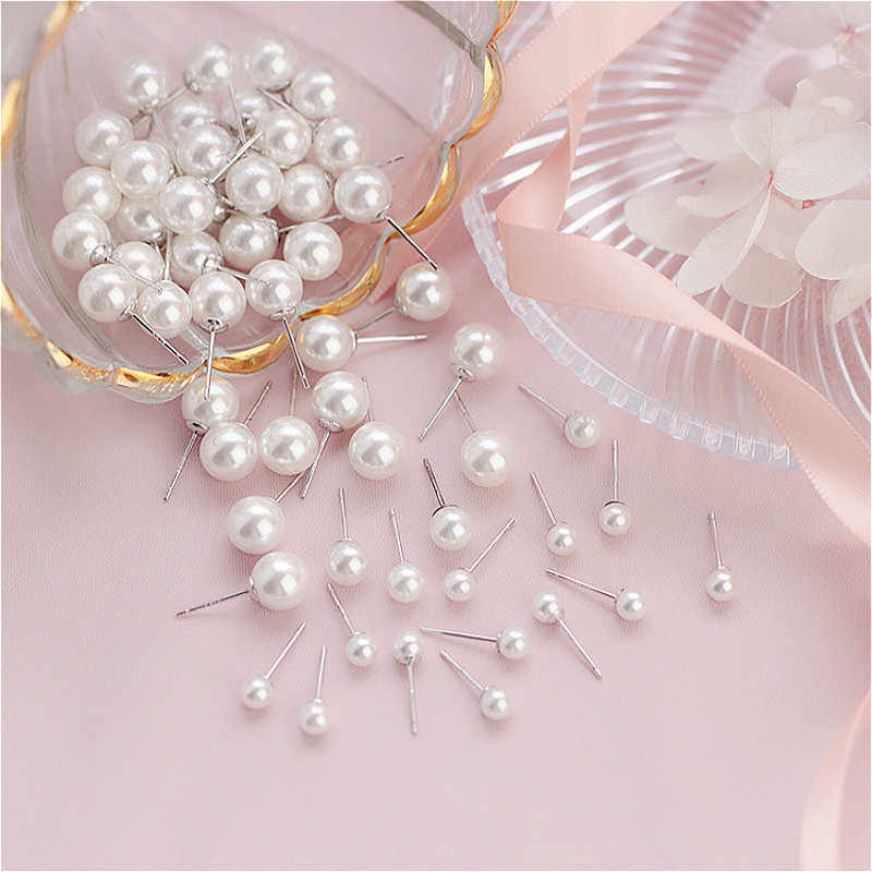(no Packing Box)1 Pair Jewelry New Design Pearl White Color Pearl Stud Earrings For Women New Accessories Wholesale 4mm 6mm 8mm