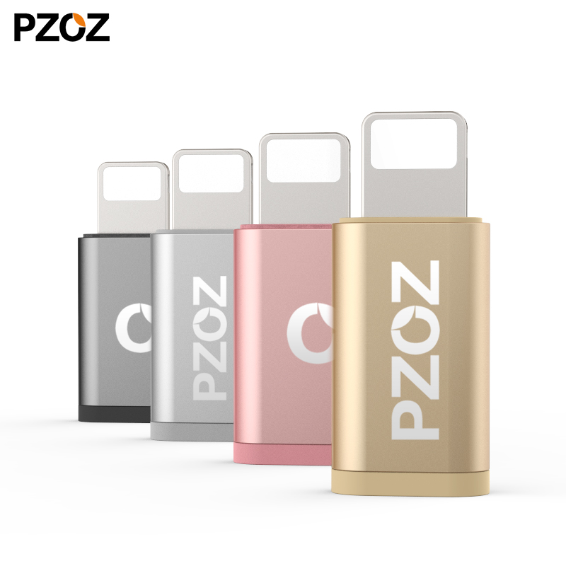 PZOZ Micro USB Female To For Iphone 8 Pin Male Sync And Charging Adapter For Iphone 6 7 8 X  Converter OTG Portable For IPad