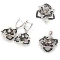 Fleure Esme fashion Charm jewelry sets women wedding (ring/earring/pendant) Black and White Cubic Zirconia silver Plated R920set