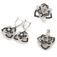 Fleure Esme Black and White Cubic Zirconia silver Plated jewelry heart set (ring/earring/pendant) R920set sz 6 7 8 9 sumptuous