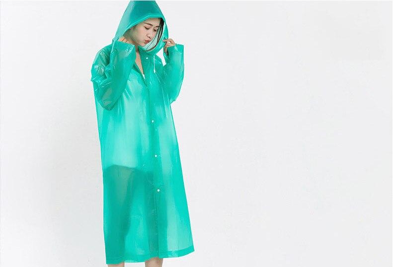 18.Fashion EVA Women Raincoat Thickened Waterproof Rain Coat Women Clear Transparent Camping Waterproof Rainwear Suit Rain jacket_