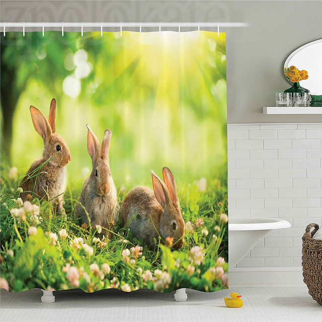 Animal Decor Shower Curtain Funny Fluffy Rabbits Bunny Family On Daisies Grass Easter Meadow Fresh Image