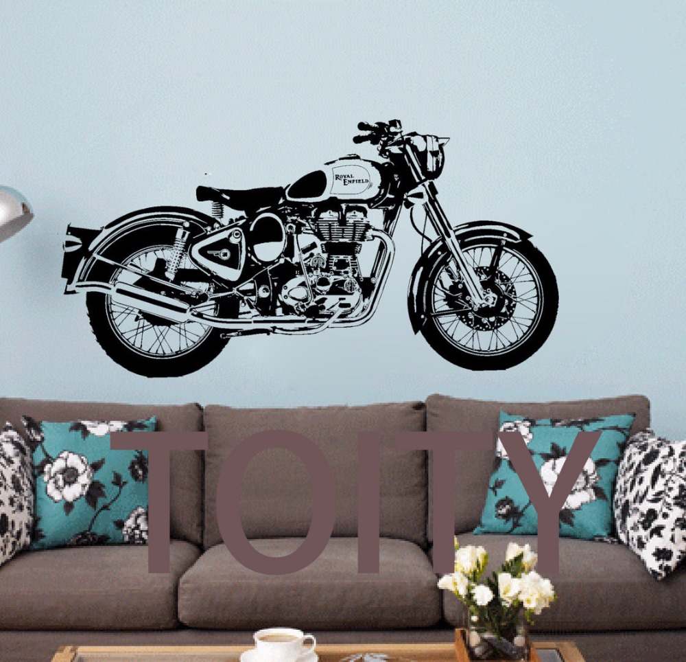 buy royal enfield motorbike wall art sticker classic english motorcycle decal. Black Bedroom Furniture Sets. Home Design Ideas