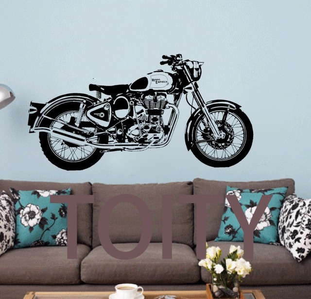 Royal Enfield Motorbike Wall Art Sticker Classic English Motorcycle Decal  Boy Room Sport Mural