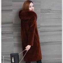 b New Winter Coat Women Faux Fox Fur Plus Size Stand Collar Long Sleeve Jacket gilet fourrure