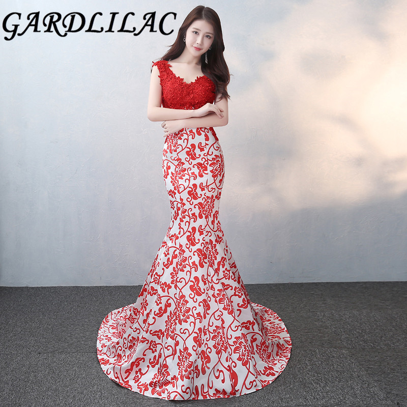 Gardlilac Sleeveless Red Long Prom Dress With Applique V Neck Sexy ...