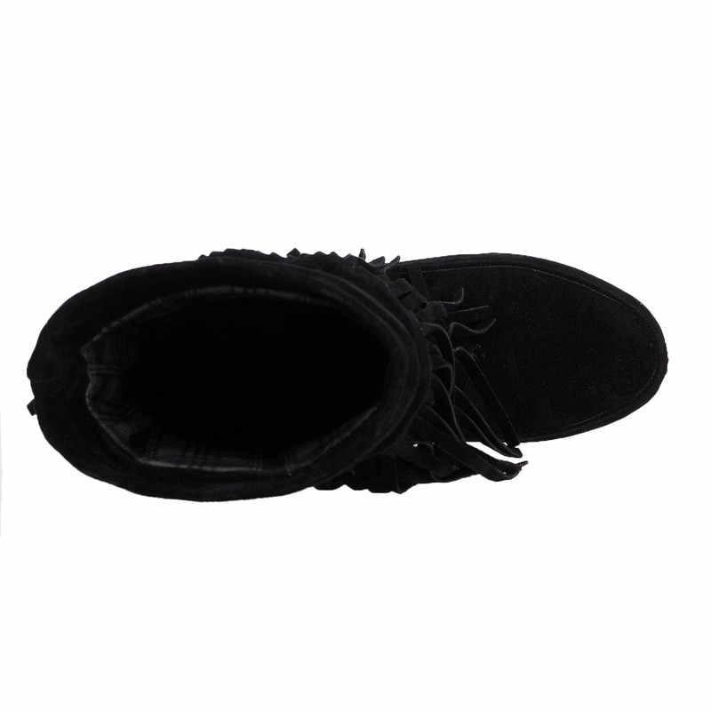 Stivali Da donna 2018 Stivali Della Caviglia Stivali Moda Scarpe Da Donna Più Il Formato 32-43 Stivali Invernali Frangia Fenty Stivali Femminili Delle Signore scarpe