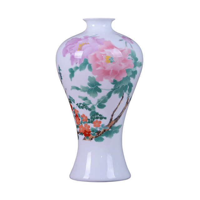 Antique Jingdezhen Thin China Vase With Peony Flowers And Bird