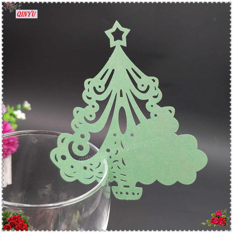 100pcs Merry Christmas Tree Glass Cup Card Christmas Party Table Name Mark Cards Paper Laser Cut Decorations 6zsh867 100 Decorative Decorative Decoration Table Partydecorator Names Aliexpress