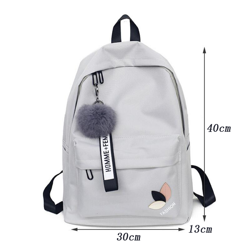 0d48a7a49b 2018 Solid backpack girl school bags for teenage College wind Women  SchoolBag High student bag black nylon printing