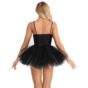 Image 4 - TiaoBug נשים בלט טוטו בגד גוף שמלה לבן שחור ברבור תחפושת בלט בגדי גוף למבוגרים שרוולים נצנצים שלב ריקוד תלבושות