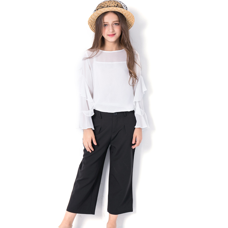 Summer White Long Ruffle Sleeve Blouse Top and Black Wide Leg Pants Two Piece Clothing Set for Teenagers Girl Age 6 to 14 Years ruffle trim surplice neckline blouse