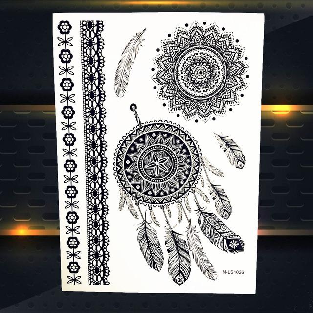 Dreamcatcher & Flower Temporary Tattoo