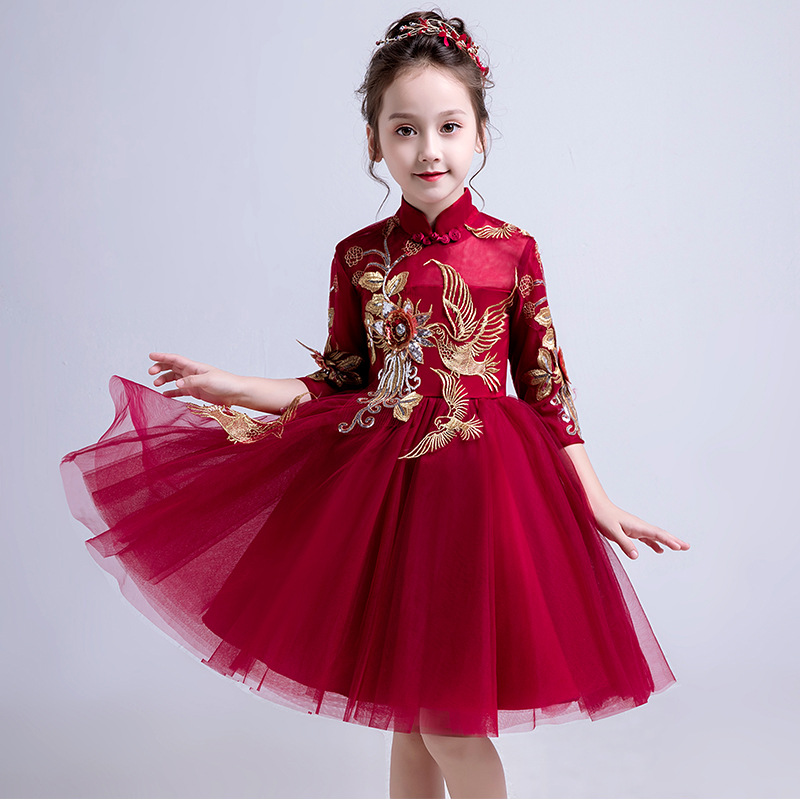 2019 Fashion Retail Black Elegant Lace Embroidery Appliques Keen-Length   Flower     Girls     Dress   With Shine   Girls   Evening Party   Dress