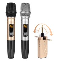 UX2 UHF Wireless Microphone System Handheld LED Mic UHF Speaker with Portable USB Receiver For KTV DJ Speech Amplifier Recording