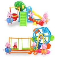 Peppa Pig Anime Figure Amusement Park Ferris Wheel Kids Toys Action Figure Model Pelucia Children Gifts