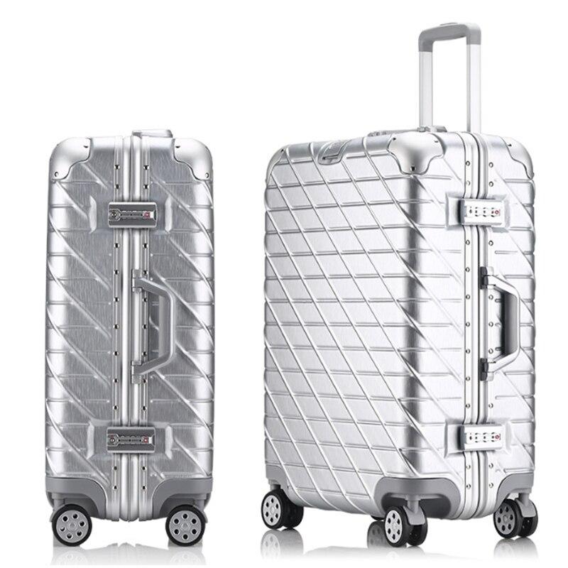 20'24'26'29' In Alluminio Vintage Trolley Spinner Donne bagaglio di Viaggio Valigia originale Scatola di Imbarco Bagaglio A mano Trolley