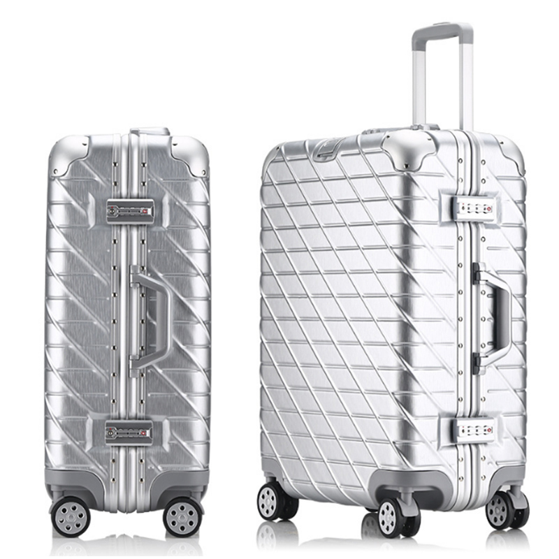 20242629 Vintage Aluminum Rolling Luggage Spinner Travel Suitcase original luggage Women Boarding Box Carry On Bag Trolley