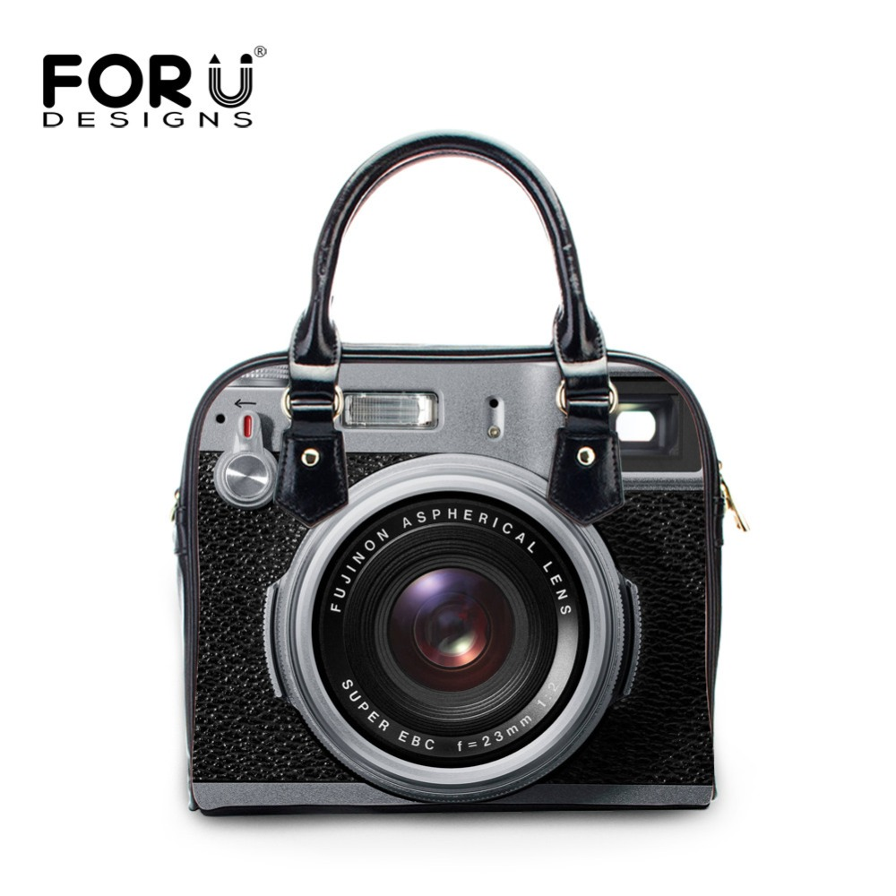 FORUDESIGNS Women PU Leather Shoulder Bags Retro Ladies Small Camera Printed Flap Bag Girls Cute Totes Bag Bolsos Femininas