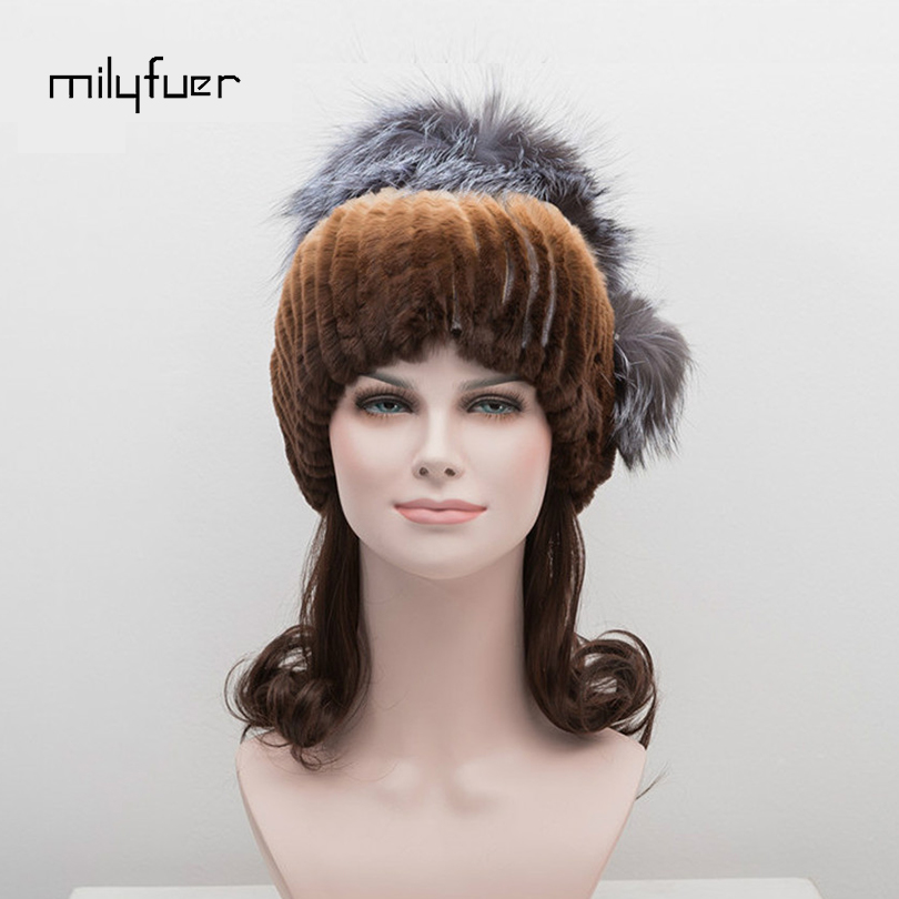 Milyfuer Rex Rabbit Fur Hat With Sliver Fox Headwear Knitted Genuine Fur Hats Natural Outwear Autumn Winter Warm Skullies Caps with logo sliver