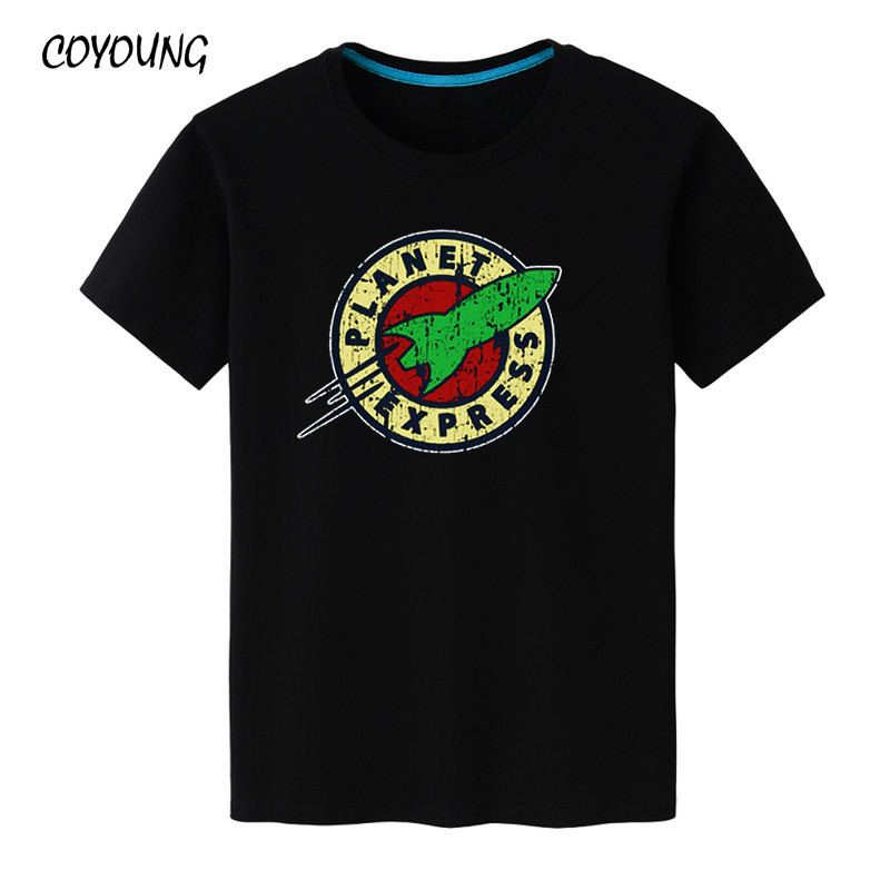 COYOUNG Brand New Fashion Men's T Shirts Planet Express Printed Short Sleeve 100% Cotton Men Clothing Tops Free Shipping