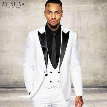 New Groomsmen Black Lapel Groom Tuxedos White/Red Men Suits Wedding Best Man Blazer (Jacket+Pants+Tie+Vest)