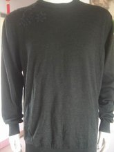 Men's Sweaters Crewnecks 100%Wool Navy Green Embroider Size L
