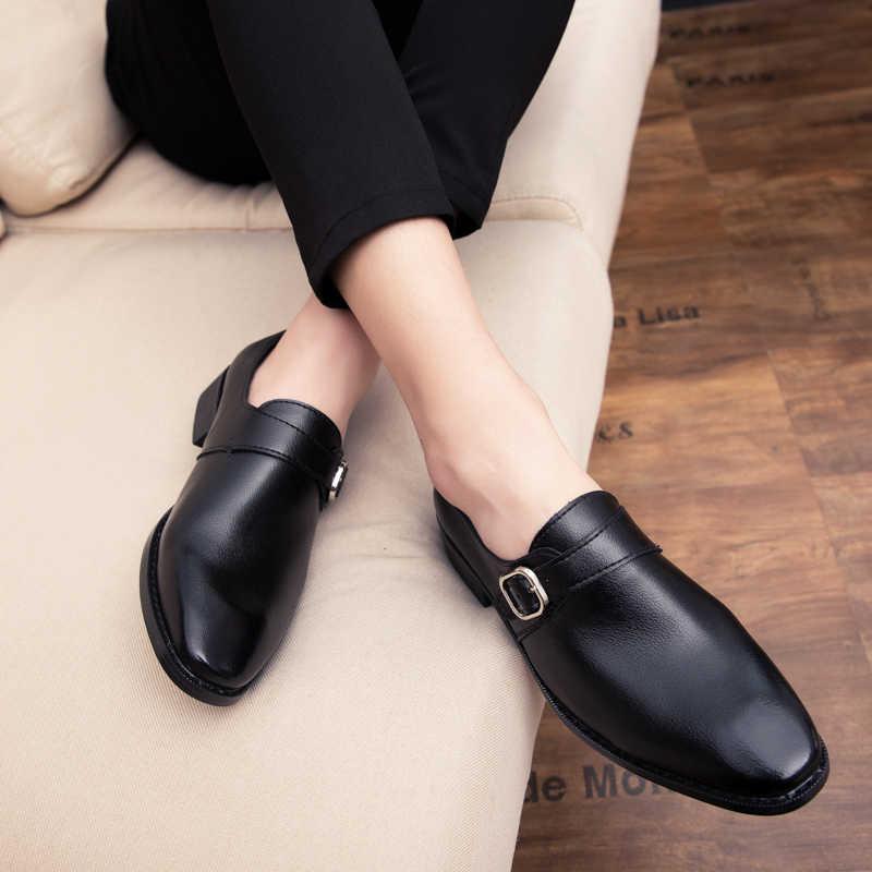 Misalwa ขนาดใหญ่ 38-47 หนังผู้ชายคลาสสิกรองเท้าหัวเข็มขัดสแควร์หรูหรารองเท้าชายสีแดงอย่างเป็นทางการธุรกิจรองเท้า
