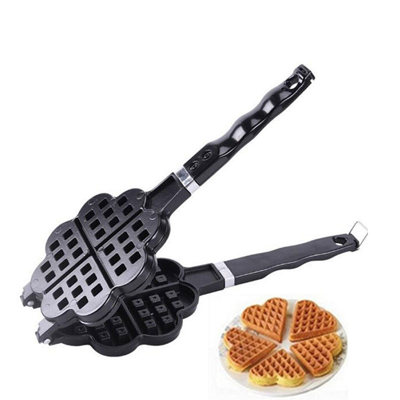 DIY Heart-shaped Egg Waffle Cake Mold Cake Pan Nonstick Double Side Biscuits Muffin Mould Pot Bakeware Baking Tools adjustable heart shaped cake cutter ring mold